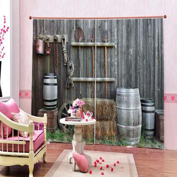 Retro curtains 3D Blackout Curtains For Living room Bedding room Drapes Cotinas para sala Decoration woods curtains