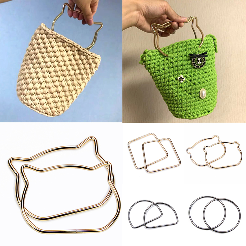 1Pcs High Quality Cute Cat Ear Metal Bag Handle Replacement For DIY Shoulder Bags Making Handbag