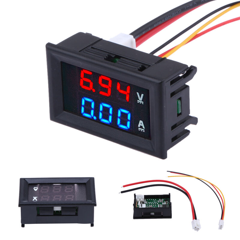 Mini Digital Voltmeter Ammeter DC 100V 10A Panel Amp Volt Voltage Current Meter Tester 0.56 Inch Blue Red Dual LED Display