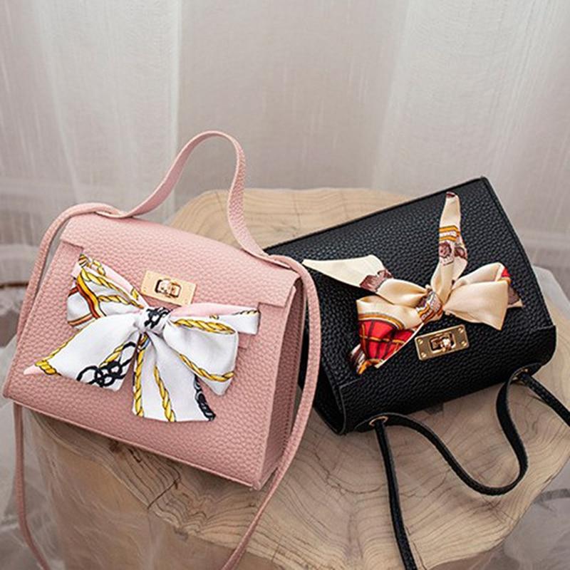 Women Ribbon Bow Decor Hasp Mini Flap Hangbag Shoulder Messenger Crossbody Bag Totes Ladies Fashion Leather Wallet
