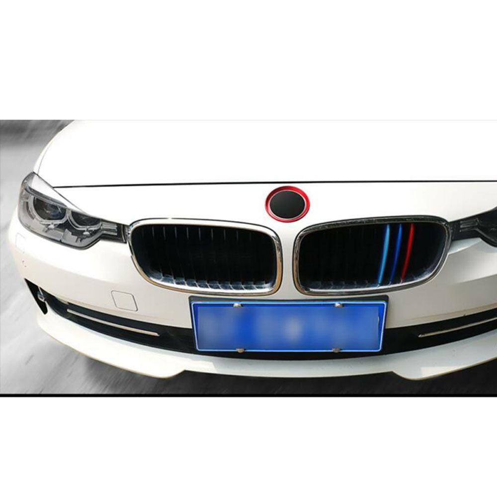 Front & Rear Logo Surrounding Ring 2pcs Red Covers Trims For BMW F30 E90 3 4 Series image