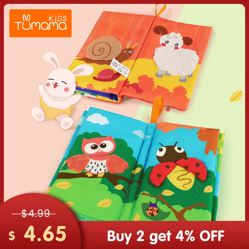 TUMAMA KIDS Baby Cloth Books Early Learning Educational Toys With Animals Skin Soft Cloth Development Books Rattles Hanging Toys