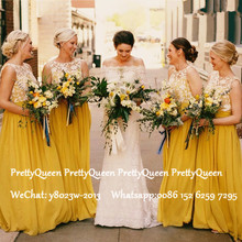Gold Yellow Long Bridesmaid Dresses With Lace Top and Chiffo