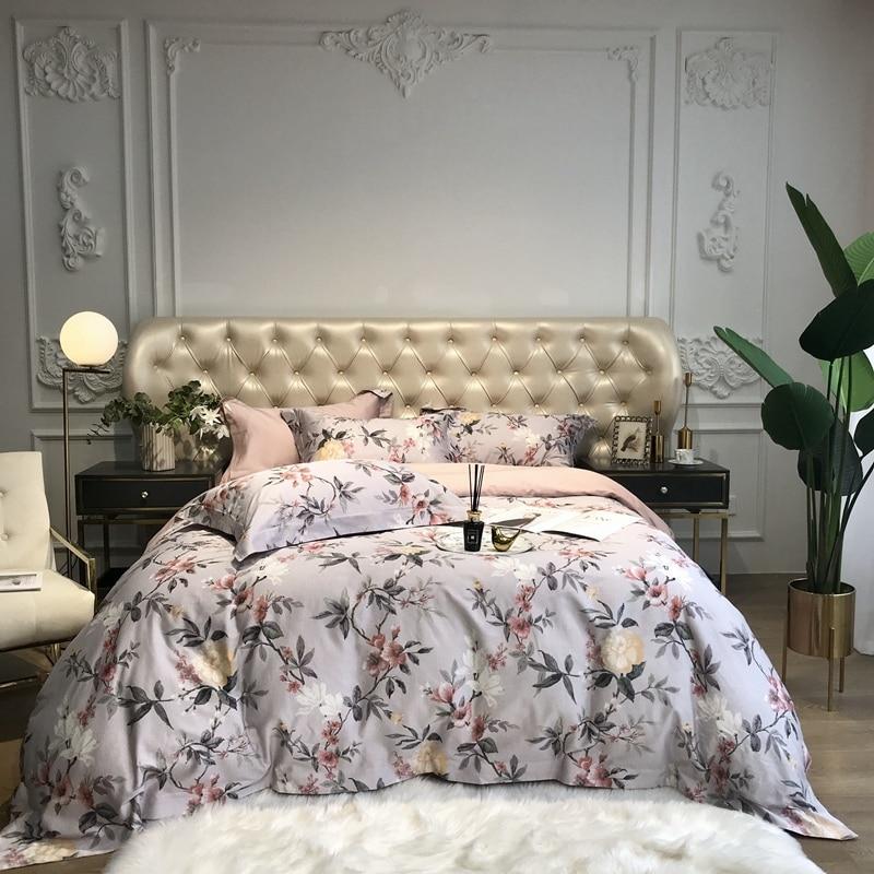 Bloom Flowers Leaves Botanical Duvet Cover Set Premium 600TC Egyptian Cotton Soft Bedding Set Bed Sheet Set Queen King Size 4Pcs