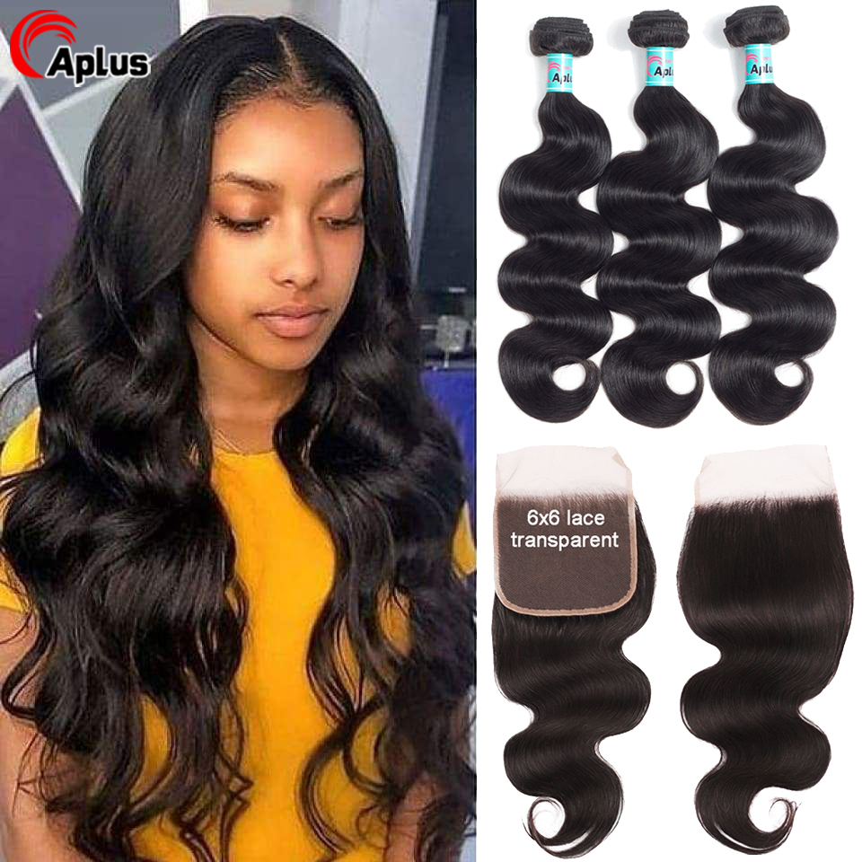 Transparent Lace 3 Bundles Brazilian BodyWave With Closure Hair Weave Bundle With Closure Remy Human Hair Bundles With Closure