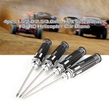 цена на 2019 4pcs Hex Screwdriver Set 1.5 2.0 2.5 3.0mm White Steel Tools Kit For RC Helicopter HSP Traxxas Car Racing Drone Aircraft