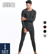 Winter Thermal Underwear Sets For Men Thermo Underwear Long Johns Winter Clothes Men Thick Thermal Clothing Solid 2019 BANNIROU cheap YuanLing Polyester spandex black Light Grey Wine Grey L XL XXL 3XL 1 Sets(tops pants ) Middle Elastic Round Neck Simple