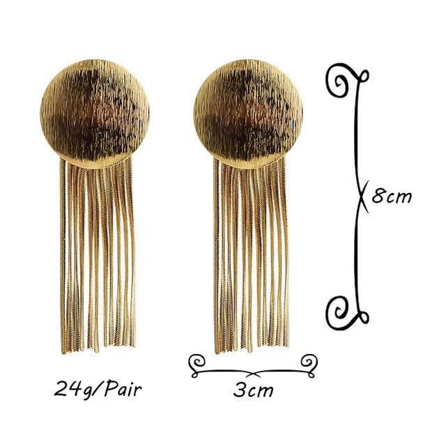 Gold Metal Chain Tassel Earrings  6