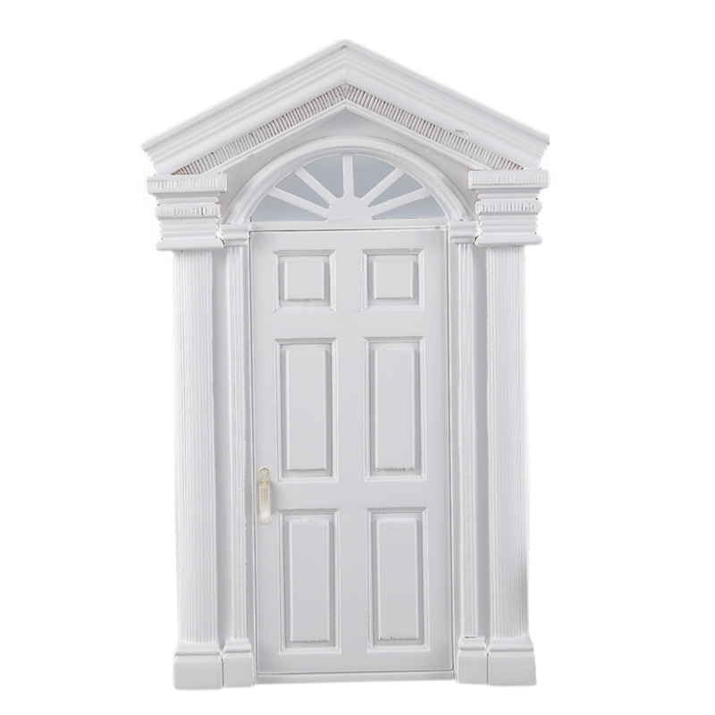 Fashion 1:12 Vintage Dollhouse Miniature Ornament Decoration Morden White Wooden Door 6 Panel With Frame White