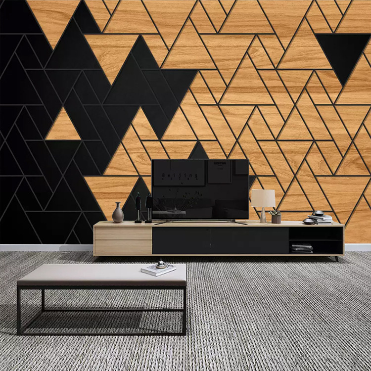 Northern European-Style Geometry Lines Wallpaper Sofa Modern Minimalist Wallpaper Living Room Television Background Wall Customi