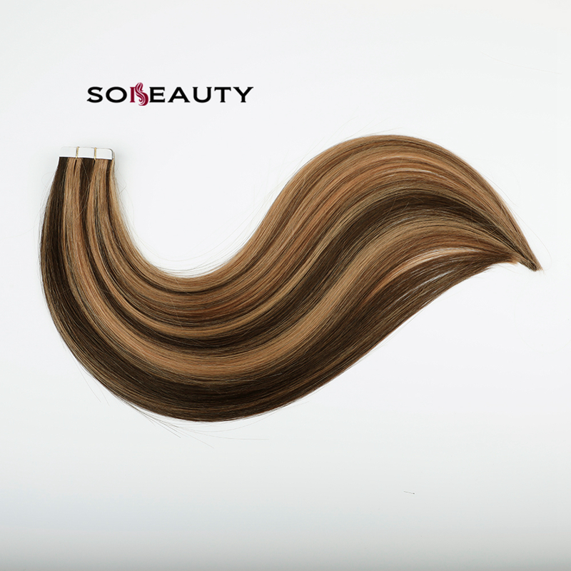 Tape In Human Hair Extensions Skin Weft Blonde Natural Hair Machine Remy Straight Brown Hair Invisible On Adhesives 20pc