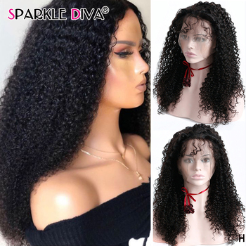 Malysian Kinky Curly Human Hair Wigs Pre Plucked 13x4 Lace Front Wig 150 180 Density Remy Lace Front Human Hair Wigs For Women