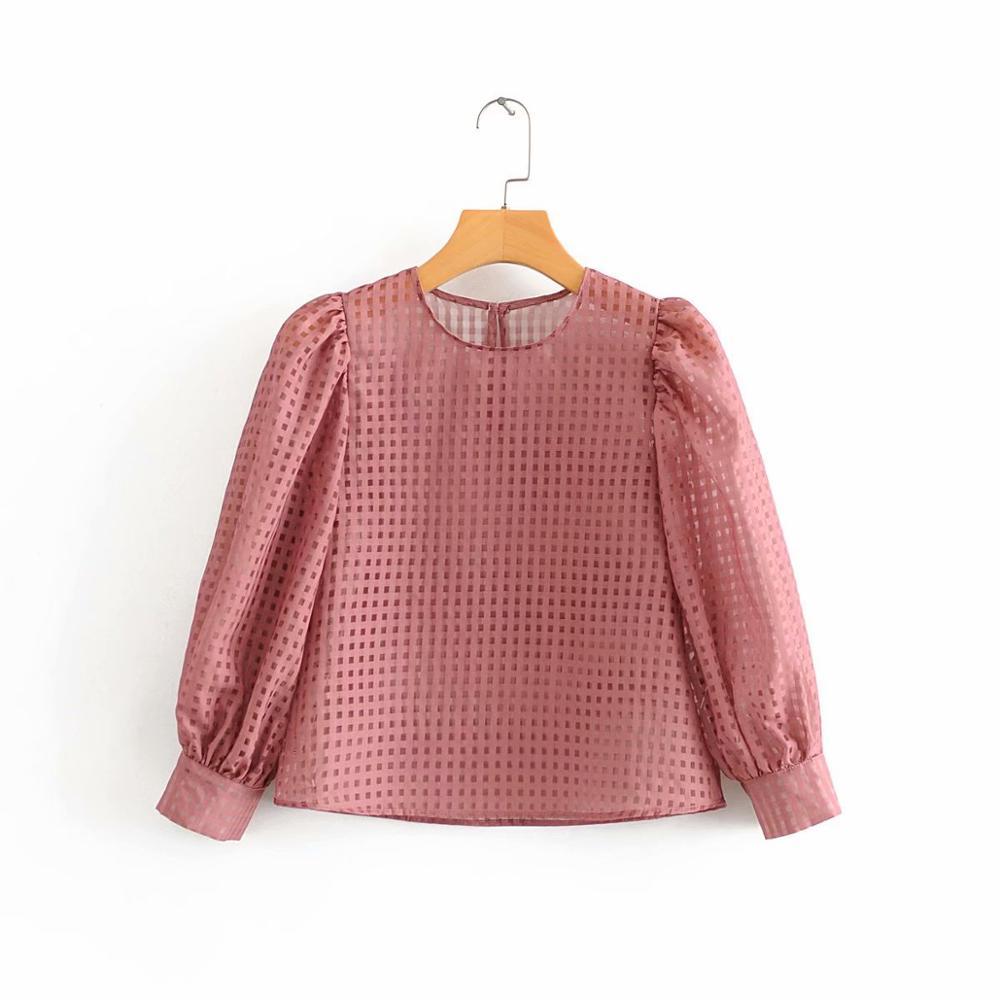2020 Women Elegant O Neck Plaid Transparent Organze Smock Blouse Shirts Women Lantern Sleeve Blusas Pleats Chemise Tops LS6178
