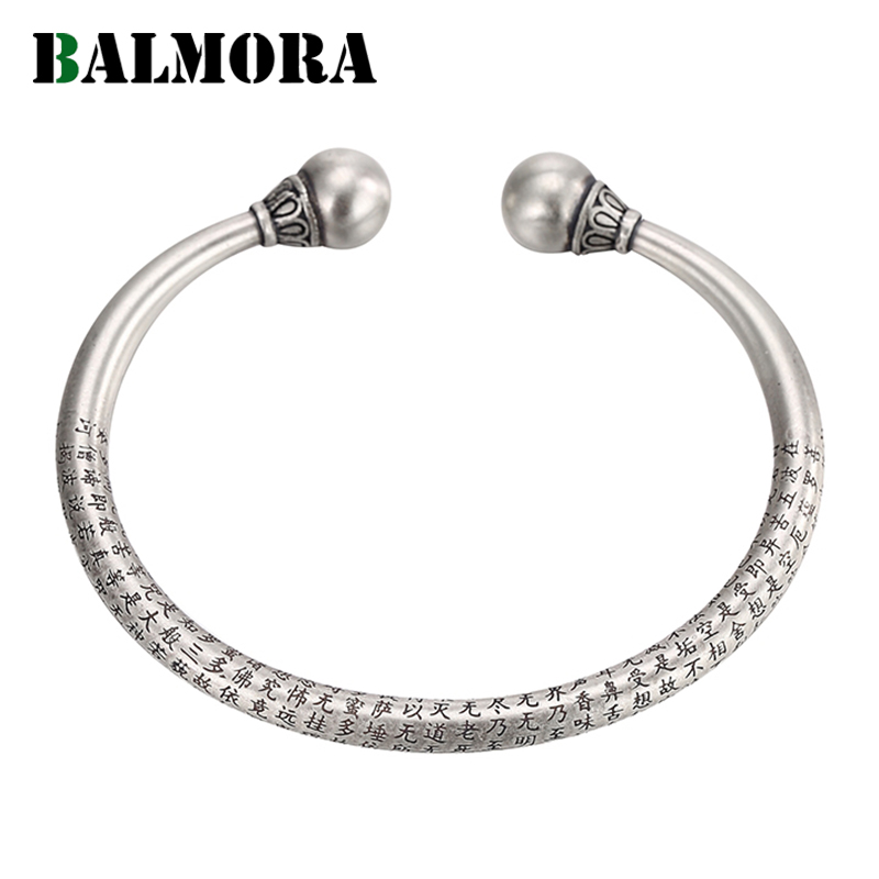 BALMORA véritable 990 pur argent Vintage bouddhiste Sutra bracelets pour femmes hommes cadeaux d'anniversaire bijoux en argent Pulsera-in Bracelets from Bijoux et Accessoires    1