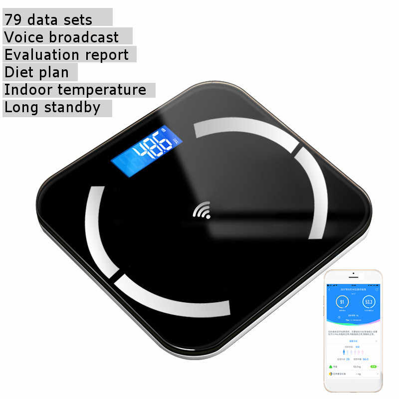 Bluetooth wagi waga do pomiaru tkanki tłuszczowej podłogi naukowych inteligentny elektroniczny z podświetleniem LED cyfrowa waga ciała łazienka wagi ciała (BMI)