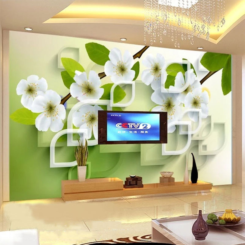 Custom Mural Wallpaper 3D Stereo Peach Blossom Geometric Fresco Living Room TV Sofa Bedroom Background Wall Home Decor Wallpaper