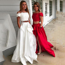 цена на Two Piece Prom Dress 2020 Off the shoulder Tulle Satin A-line Formal Party Evening Gown With Pockets vestido de formatura longo