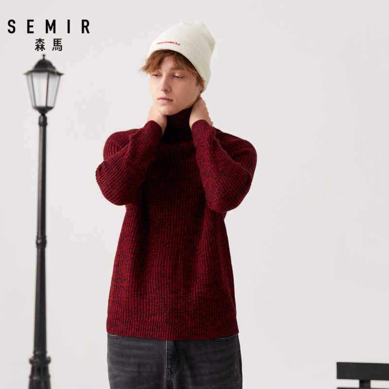 Semir High collar wool sweater male spring and autumn young new loose warm sweater men Korean version sweater coat knit
