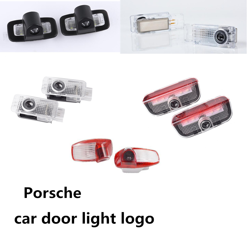 2X LED 3D Car Door Laser Ghost Shadow Lamp Logo Projector Light For Porsche Cayenne Boxster Cayman Macan 911 S3 S4 Panamera