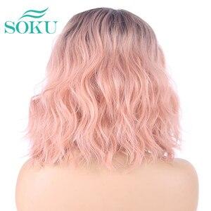 Image 5 - Парик Омбре светлый естественная волна короткий Боб длина плеч SOKU синтетические кружевные передние парики глубокие невидимые боковые L части парик для женщин