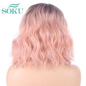 Image 5 - Ombre Blonde Natural Wave Short Bob Wigs Shoulder Length SOKU Synthetic Lace Front Wigs Deep Invisible Side L Part Wig For Women