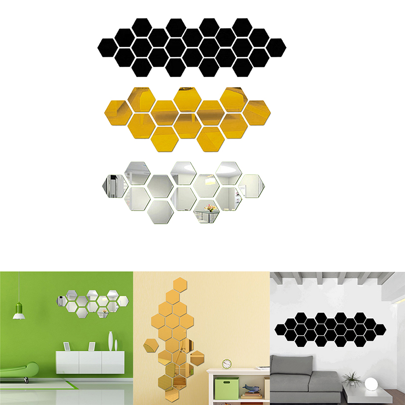 24Pcs 3D DIY Hexagon Acrylic Mirror Wall Stickers  Art Wall Decor Stickers Home Decor Living Room Mirrored Decorative Sticker