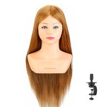 60cm 80% real cabelo cabeleireiro formação cabeça penteado boneca headl com ombro trança curling prática manequim cabeça