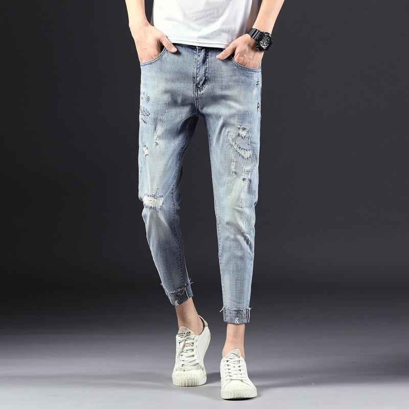 Jeans Men's Popular Brand Slim Fit Skinny Pants Korean-style Trend Men Capri Ripped Jeans Casual Pants
