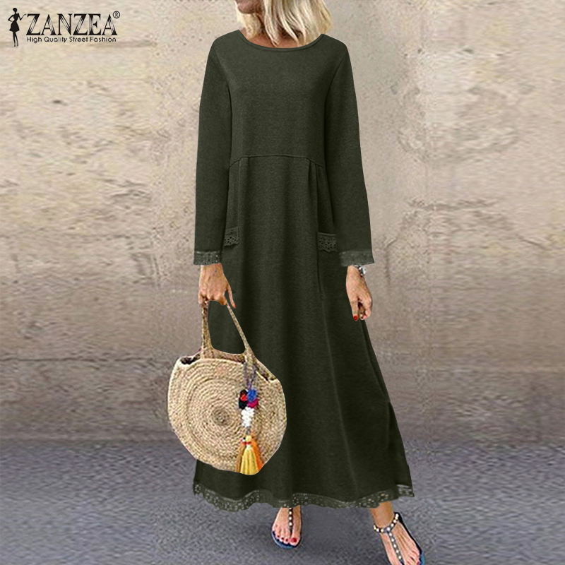 Fashion Women's Autumn Sundress ZANZEA 2020 Lace Patchwork Sweatshirts Dress Female Hoodies Plus Size Maxi Vestidos Pullover 5XL 3