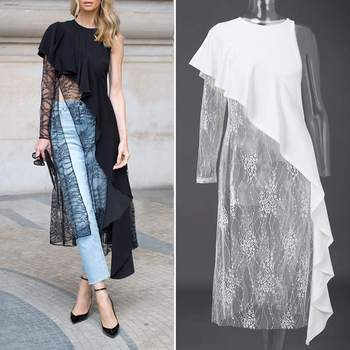цена на Women Lace Blouse Irregular Shirts VONDA 2020 Summer Patchwork Blouse Lady Office One Shoulder Party Tops Femininas Plus Size