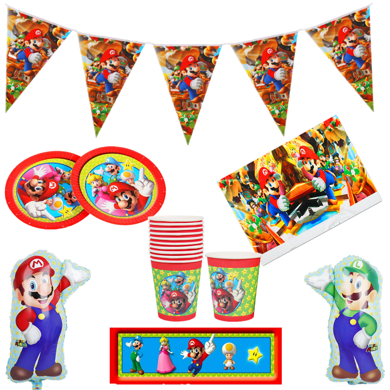 Super Mario Party Mario Bros Birthday Party Plates Cups Banners Napkins