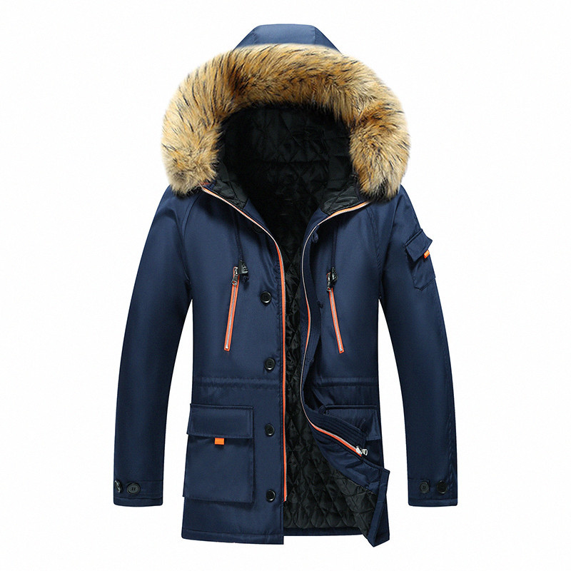 Hot Mens Parka Coats Men Winter Warm Hooded Fur Collar Men Jackets Casual Padded Male Overcoats Brand Clothing 7XL 8XL Outerwear