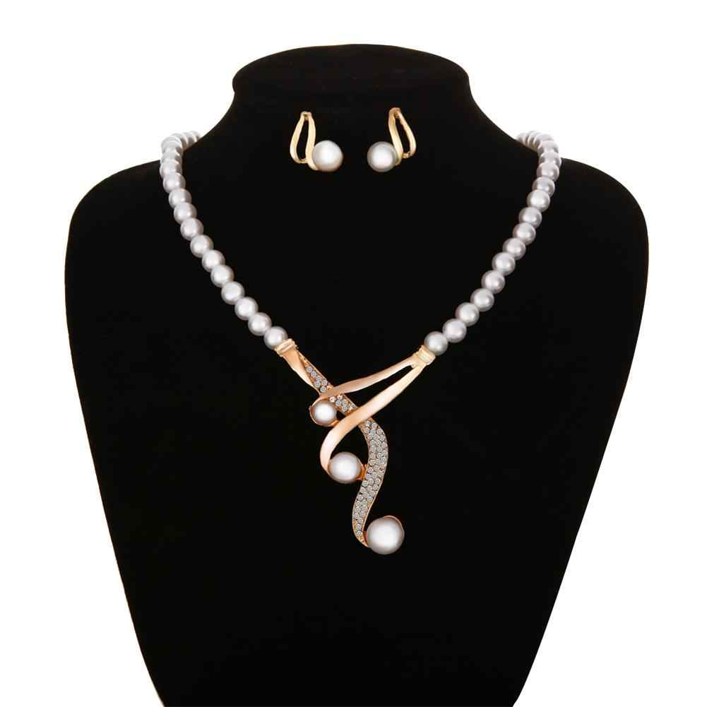 Hook Shape Pendant Faux Pearl Beaded Necklace Earrings Bridal Party Jewelry Set New Chic