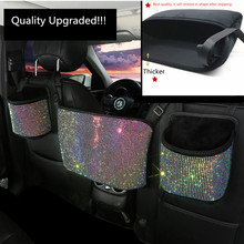 Car Hanging Organizer Seat Back Storage Premium Rhinestone Bling Container Stowing Tidying Sparkly Accessories Interior Styling