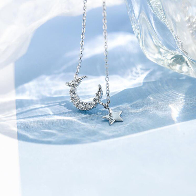ANENJERY Sweet Silver Color Zircon Moon Star Tassel Necklaces For Women choker collares Birthday Gift S-N454