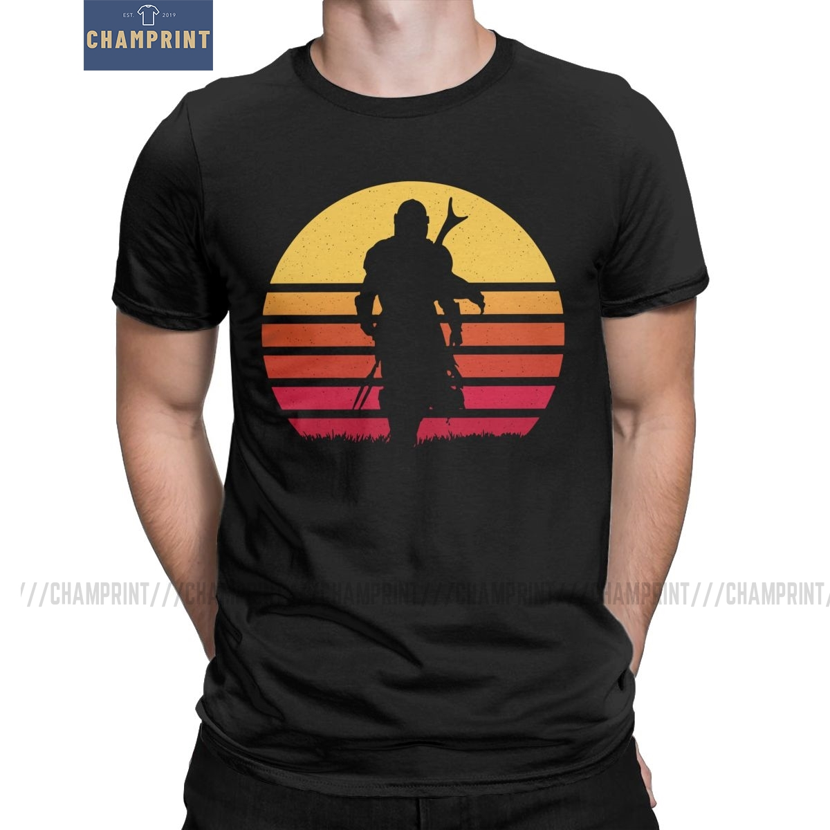 Mando Retro The Mandalorian T-Shirt Men Baby Yoda Star Wars Seagulls Jedi Fett Cotton Tees Short Sleeve T Shirts Plus Size