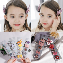 5 Pcs/Set Barrettes for Girls Korea Cotton Cartoon Hair Clips Glitter Crown Bows Baby Accessories