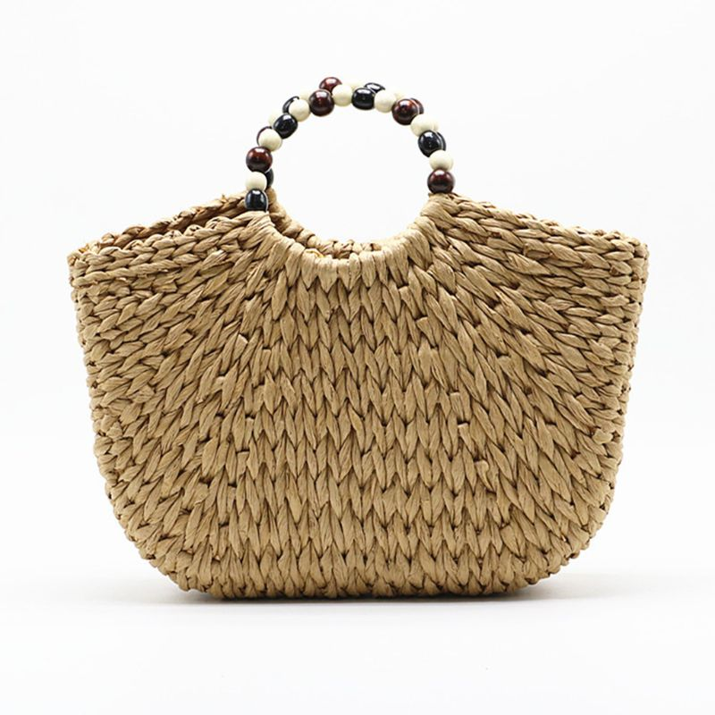 Beach Straw Bag Women Large Hand-woven Purse Summer Rattan Top-handle Tote Handbag With Beaded Handle