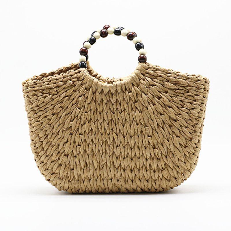 Beach Straw Bag Women Large Hand-woven Purse Summer Rattan Top-handle Tote Handbag With Beaded Handle