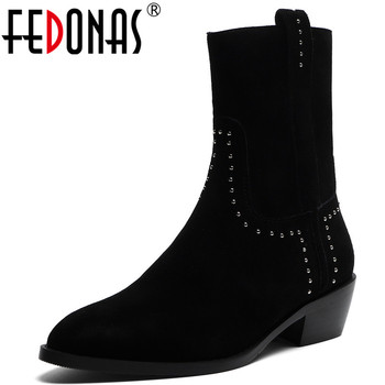 FEDONAS Winter Female Warm Kid Suede Short Boots Rivets High Heels Fashion Party Dancing Shoes Woman Classic Women Ankle Boots