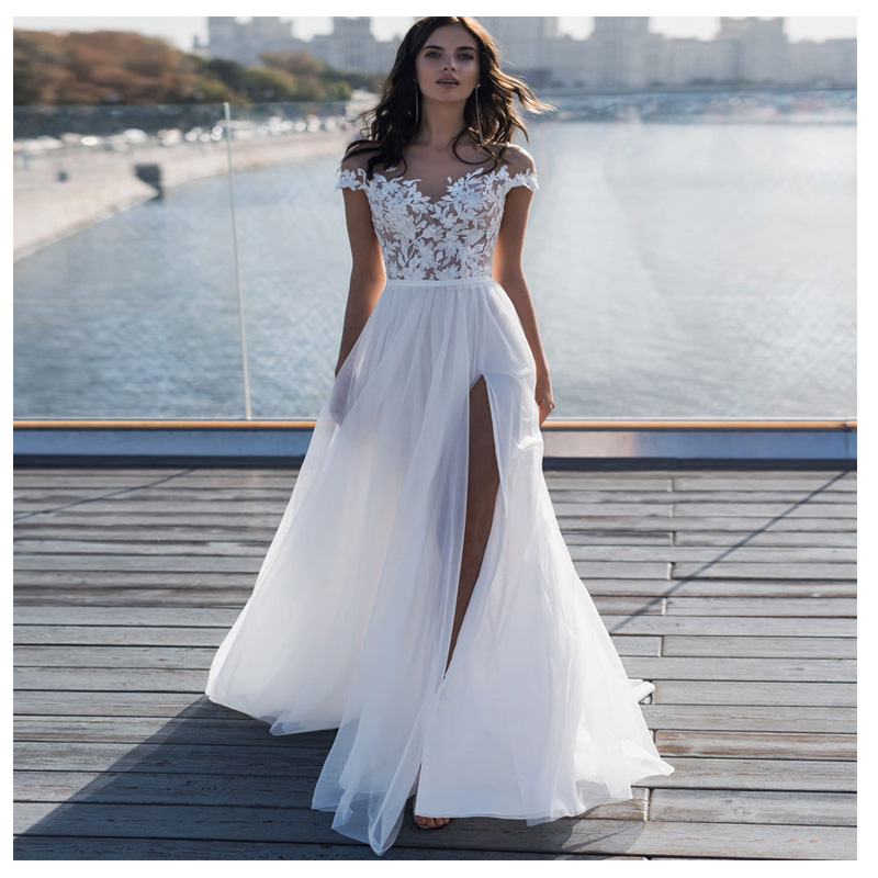 Vestido Noiva Bohemia Beach A Line Wedding Dresses 2020 White Lace High Split Wedding Gowns Illusion Tulle Bride Wedding Dress