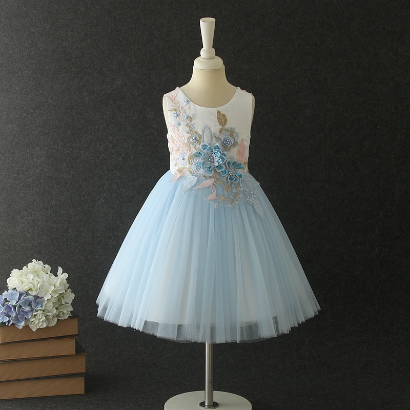 Princess Formal Dress Puffy Wedding Dress Girls Stage Performance Costume New Style Embroidery Beaded Dress