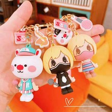 New Creative Cartoon Rabbit Star Keychains Character Glue Animal Key Chain Fashion Package Pendant Lovers Small Gift Ring