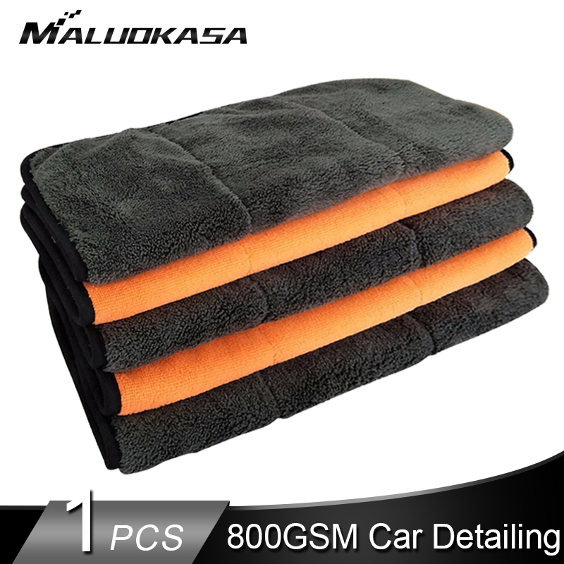 800GSM Car Detailing Car Wash Towel Microfiber Detailing Towel 800 GSM Cleaning Cloth Super Thick Plush Auto Wax Polishing Rag