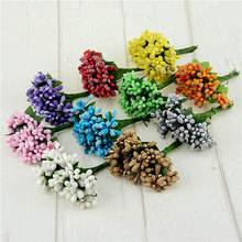 12 Pcs Stamen Sugar Handmade Artificial Flowers Wedding Christmas Decor Diy Wreath Needlework Gift Box Scrapbooking Fake Flower
