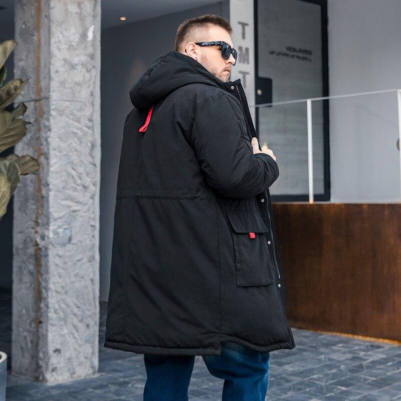 2019 Winter Neue männer Plus größe Lange Baumwolle Mantel Mode Großzügig taille kordelzug Lose Schwarz Baumwolle anzug Mehr größe m 6XL - 5