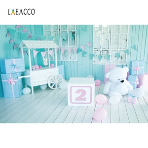 Image 2 - Laeacco 2nd Birthday Photophone Cart Candy Bar Gifts Bear Photography Backdrops Baby Portrait Photo Backgrounds Photozone Props