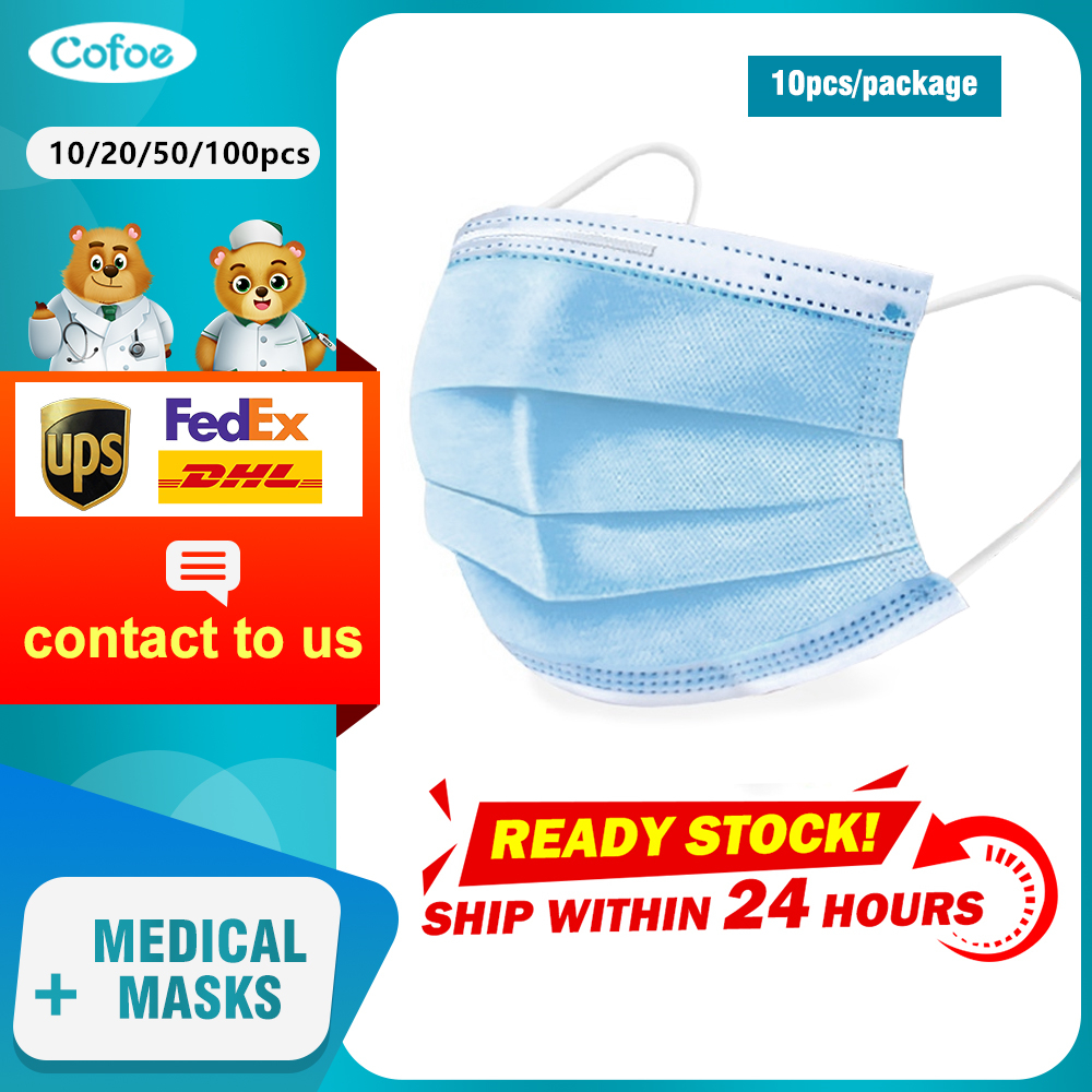 Cofoe 50/100pcs Face Mask Disposable 3-Layer Filter Ffp3 Face Masks Non-woven Anti Pollution Anti-Dust Masks Unisex