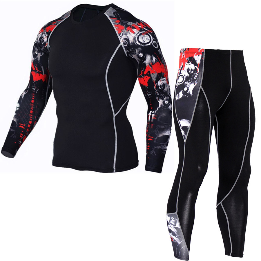 Men's sportswear suit gym tights training suit men's sports jogging compression sports suit fitness running sportswear