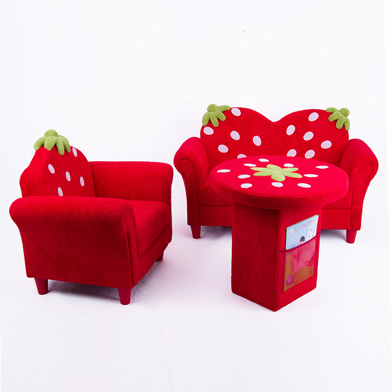Cartoon Fabric Strawberry Sofa Stool Kindergarten Baby Small Sofa Red Kids Sofa Chair Children Bedroom Bean Bag Zitzak